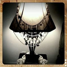 old necklaces repurposed as a lamp shade decoration :) I love lamp!