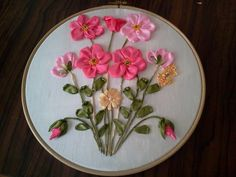 Silk Ribbon Embroidery, Hand Embroidery Patterns, Embroidery Art, Cross Stitch Embroidery, Embroidery Designs, Ribbon Art, Flower Making, Pink Flowers, Needlework