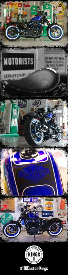 Schaeffer's Harley-Davidson fell in love with the black and blue theme to bring back a old school and vintage look with their Sportster build. | Harley-Davidson #HDCustomKings #harleydavidsonbobbersportster #harleydavidsonbobberssportster