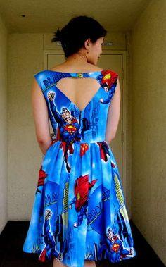 #Superman logo cutout, vintage dress