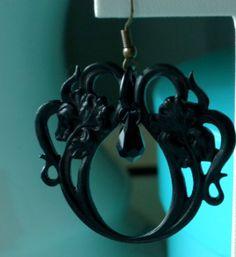 Gothic black Iris Art Nouveau earrings by RosalindRobertson, $50.00