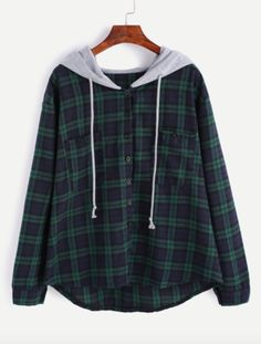 - Jane Plaid Hoodie - Navy blue + green - Light gray hoodie with drawstrings - Button-up - Fabric has no stretch - Pairs great with leggings, shorts, and jeans - Available in three sizes - Please allo