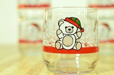 Vintage Libbey Teddy Bear Holiday Christmas Glasses: Set of 6 by VintageRescuer on Etsy