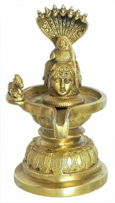 Three Faced Shiva Linga with Nandi Protected by Serpent Vasuki (Brass)