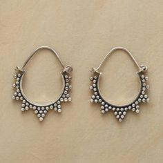 "STARBURST HOOPS�--�In these sterling silver bead starburst hoop earrings, rays handcrafted of granulation beads radiate from the perimeter of sterling silver hoops. Hinged wires. 1-1/4""L."