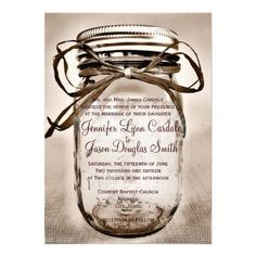 Country Mason Jar Rustic Wedding Invitations #wedding #country #rustic #masonjars