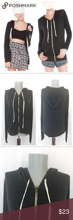Brandy❤️Melville • Gray Zip Up Hoodie Brandy❤️Melville • Gray Zip Up Hoodie is gentle worn from smoke and pet free home. Brandy Melville Tops Sweatshirts & Hoodies