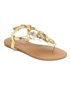 This Gold & Silver Metallic Flower Sandal by Chatties is perfect! #zulilyfinds
