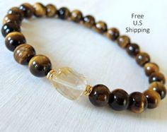 Strength Citrine Onyx mala Bracelet Yoga by LifeForceEnergyShop