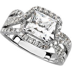 The Jewelry Hut Fancy Designer Antique Retro. Style Princess Diamond (Center Diamond sold separately), The most Precious of Gems, in 14 KT White Gold Engagement Ring is Adorned with 52 Genuine Round shape Brilliant diamonds.