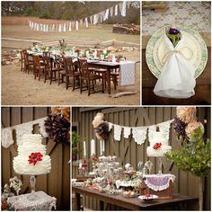 Rustikale Hochzeit Inspiration Spitze und Jute Tischdeko und Candy Bar Rustikale Hochzeit Inspiration  Dekoration, Einladungskarten usw.