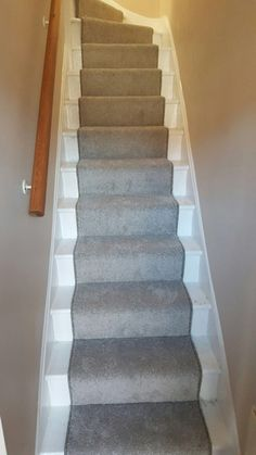 Grey Carpet As A Runner To Stairs