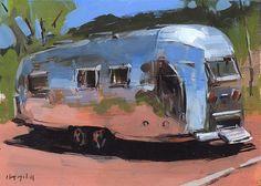Art Print Painting Retro Airstream Desert Auto by lloydgallery, $15.00