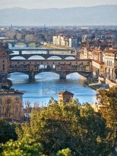 <3 FLORENCE!  Vista panorámica de Florencia y el Ponte Vecchio. Toscana, Italia.