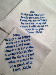 Set of Two Personalized WEDDING HANKIE'S Mother & Father of the Bride Gifts Hankerchief - Hankies. $35.00, via Etsy.