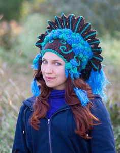 Winter flower shaman crown crochet hat festival costume headdress brown blue roses nature native style green leaves knit wool roach beanie