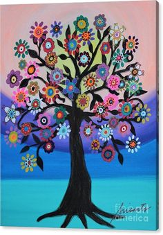 Tree Canvas Print featuring the painting Blooming Tree Of Life by Pristine Cartera Turkus Tree Of Life Artwork, Tree Of Life Painting, Tree Art, Tree Of Life Images, Tree Of Life Meaning, Tree Of Life Symbol, Blooming Trees, Tree Illustration, Tree Of Life