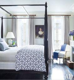 Brooke Shields' Greenwich Village townhouse (master bedroom John Robshaw bedding AD)