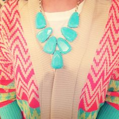 Harlow Statement Necklace in Turquoise - looks great with a bright sweater! #KendraScott