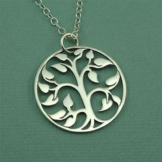 Large Tree Of Life Necklace  sterling silver zen by TheZenMuse.  $49.00