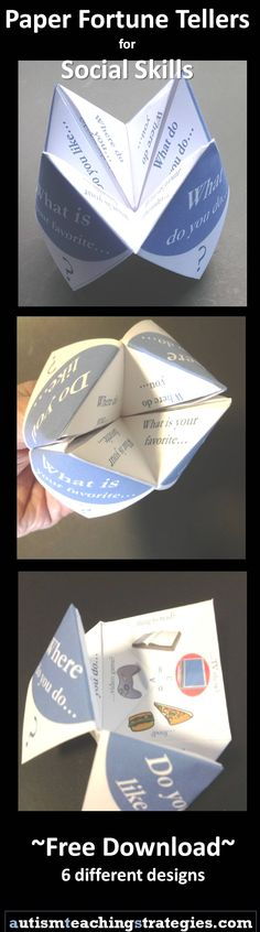 "Pragmatics- Fun activity to develop social skills. Fold these free ""fortune tellers"" into social skills games for conversation, etc. Nine different varieties. Social Skills Activities, Teaching Social Skills, Counseling Activities, Teaching Activities, School Counseling, Therapy Activities, Therapy Ideas, Therapy Worksheets, Elementary Counseling"