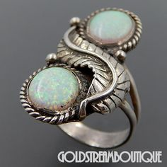 NATIVE AMERICAN VINTAGE NAVAJO STERLING SILVER OPAL DOUBLET BYPASS FEATHER WIDE RING SIZE 6.25