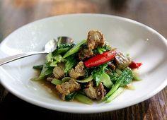 Kana Moo Krob (คะน้าหมูกรอบ) Roasted Pork Belly Stir Fried with Garlic and Greens
