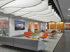 The Saint Gobain and CertainTeed North America headquarters in Malvern, PA, has been dubbed the Living Laboratory because the building was built with, around, and throughout with CertainTeed's products and allows employees to live with and learn from their products as they experience them. Photo: CertainTeed Ceilings