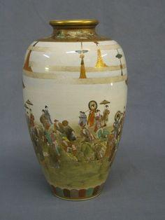 Satsuma Floor Vase Pottery | fine quality Japanese Satsuma porcelain vase decorated court figures ...