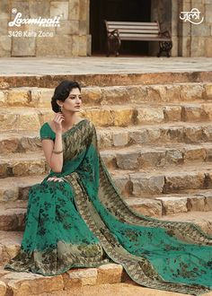 Green and brown floral printed sari Green and brown georgette printed Comes with matching unstitched blouse material Indian Look, Indian Wear, Indian Dresses, Indian Outfits, Laxmipati Sarees, Suits For Women, Clothes For Women, Indian Clothes Online, Brown Floral