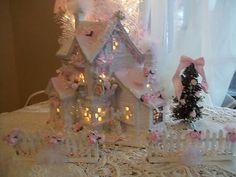shabby lighted christmas village cottage glitter dance house chic pink roses   eBay
