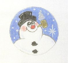 $9.95   Frosty Snowman w/Corncob Pipe Christmas Ornament Handpainted Needlepoint Canvas #Unbranded