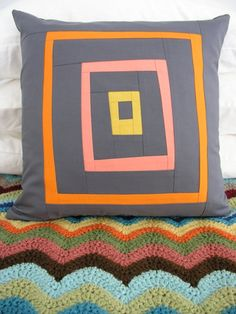 Wonky log cabin quilting