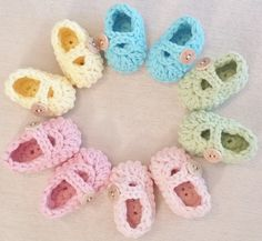 Easter Baby Booties/Adorable Baby Shower Gift ~ Bitty Baby 'Kicks' in Sorbet SPRING Colors by BittyToes on Etsy