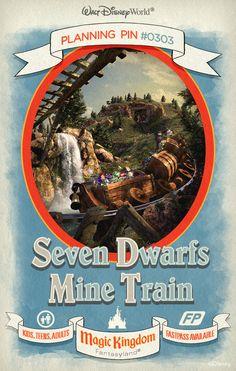 Walt Disney World Planning Pin: Race through the diamond mine from Snow White and the Seven Dwarfs on an adventurous family coaster!