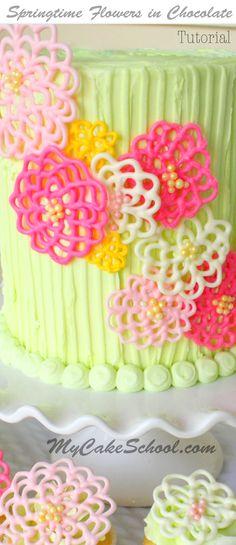 Springtime Flowers in Chocolate- A Cake Decorating Blog Tutorial! by MyCakeSchool.com! Online Cake Decorating Classes, Tutorials, & Recipes!