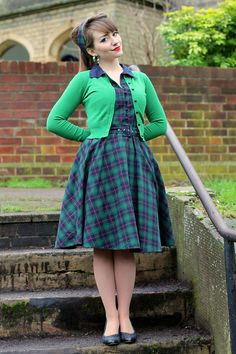 Dolly & Dotty Poppy dress in green checkered Cute Dresses, Vintage Dresses, Vintage Outfits, Cute Outfits, Vintage Clothing, Women's Clothing, Frock Fashion, Modest Fashion, Women's Fashion
