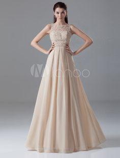 Vestido de noche de gasa de color champaña sin mangas - Milanoo.com