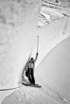 Mt Baker - Spring Avalanche - Patroller after bombing - 4m High