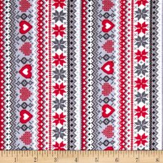 Kanvas Knitty Kitty Flannel Sweater Stripe Red from @fabricdotcom  Designed by Greta Lynn of Kanvas for Benartex, this soft, double napped (brushed on both sides) flannel fabric is perfect for quilting, apparel and home décor accents. Colors include grey, black, red and white.