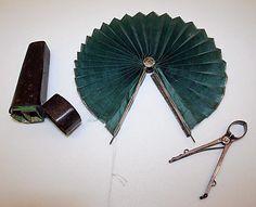 Fan (Cockade)  Date: late 18th–early 19th century Culture: European Medium: silk, silver, leather Dimensions: Length (a): 7 3/4 in. (19.7 cm) Length (b): 3 7/8 in. (9.8 cm) Length (c): 4 3/4 in. (12.1 cm)