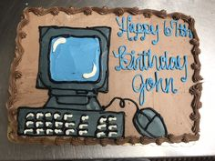 Computer cake Computer Cake, Landline Phone, Young Adults, Teen, Cakes, Pastries, Torte, Cookies, Animal Print Cakes