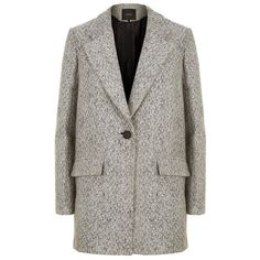Maje Single-Breasted Tweed Coat (¥28,670) ❤ liked on Polyvore featuring outerwear, coats, maje, single-breasted trench coats, maje coat, tweed coats and oversized coat