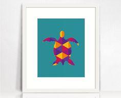 Sea turtle silhouette print. Colorful nursery art. #FoxWallArt
