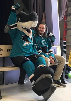 EK65 and Sharkie (0118) Western Conference, San Jose Sharks, Shark Bites, Vancouver Canucks, Hockey Players, Wedding Humor, Ice Hockey, Outdoor Travel, My Boys