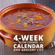 Our new 4-Week Slow Cooker Calendar and Grocery List makes eating healthy dinners easier!! This FREE calendar download & grocery list is a must-try. #slowcookerrecipes #healthyrecipes #cleaneating #weightlossrecipes