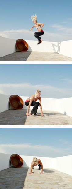 Tricep plank, to push-up to pop-up and jump. Great strength building for surfers.