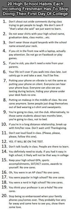High Schools things college Freshman need to stop!!