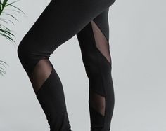 Mesh V-Panel High Waisted Leggings Hand Made by CaseyCrespo