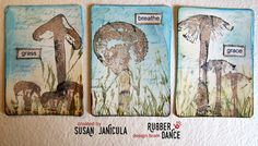 3 ATC's in Spring Colors by Susan Janicula, using the awesome mushroom stamps from rubberdance.com